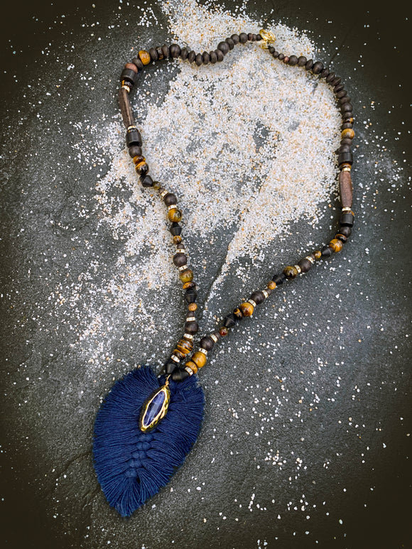 Blue Macrame Feather Pendant on Tigers Eye & Wooden Beads