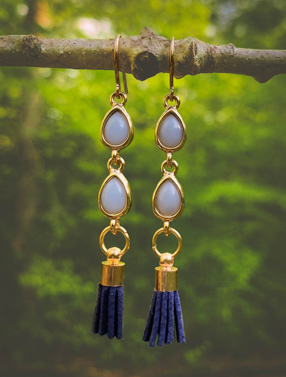 Take me to Maldives-Linear Blue Earrings
