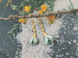 Sage Green Suede Flower Earring