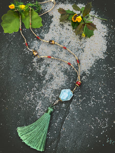 Multi Color Long Y Neck with Moss Green tassel