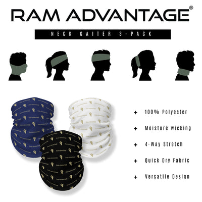 PREMIUM COMFORT, BOLD DESIGN - Ram Advantage neck gaiters are made of an ultra-soft 100% polyester microfiber fabric that features 4-way stretch technology to comfortably fit men women and kids. All neck gaiters feature a bold, iconic Ram Advantage design for you to project your unapologetic confidence and strength everywhere you go.