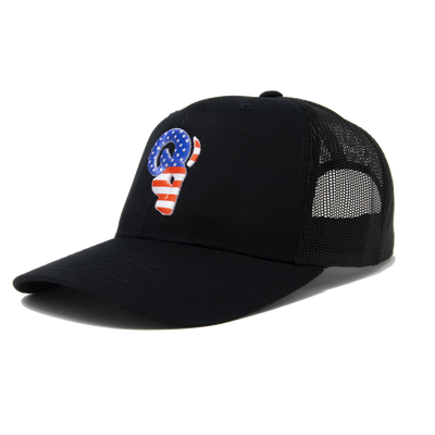Premium AMERICAN FLAG trucker. Show your AMERICAN PRIDE with this RED WHITE & BLUE hat. REPUBLICANS and DEMOCRATS agree the RAM ADVANTAGE AMERICAN TRUCKER  is the BEST AMERICAN HAT