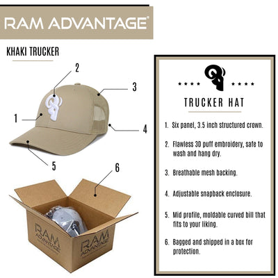 RAM ADVANTAGE premium KHAKI and WHITE 3D embroidered TRUCKER HAT