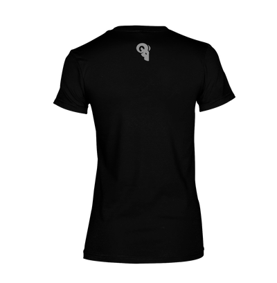 RA Logo WOMEN'S TRI-BLEND T-Shirt RAM ADVANTAGE apparel Black and SILVER printed for a PREMIUM LOOK AND FEEL.