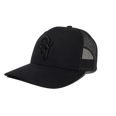 RAM ADVANTAGE premium Blackout Black AND BLACK 3D embroidered TRUCKER HAT