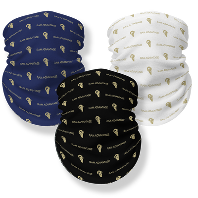 RAM ADVANTAGE FACE COVERING MULTI-PACK - Premium face mask bandana made with seamless lightweight breathable 4-way stretch polyester fabric designed to fit men, women and kids. Made with raw edges that roll slightly for comfort and to ensure a perfect fit.