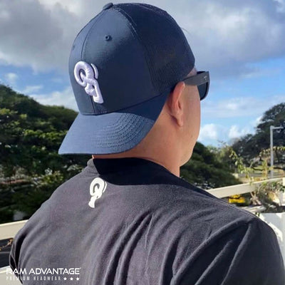 RAM ADVANTAGE premium NAVY and WHITE 3D embroidered TRUCKER HAT