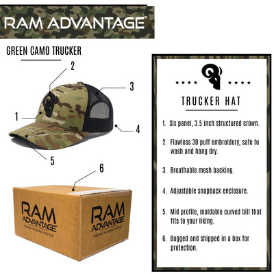 RAM ADVANTAGE premium GREEN CAMO TRUCKER hat SNAPBACK