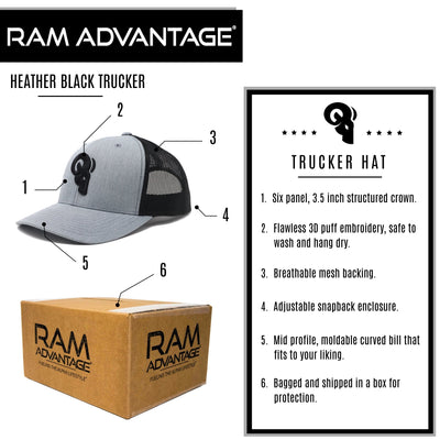 RAM ADVANTAGE premium HEATHER GREY and BLACK 3D embroidered TRUCKER HAT