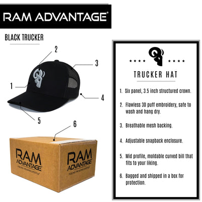 RAM ADVANTAGE premium SILVER AND BLACK 3D embroidered TRUCKER HAT