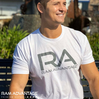 JEREMY  SAGE wearing a ultra-soft RAM ADVANTAGE t-shirt. Handsome MUSCULAR  MAN overlooking  the beach