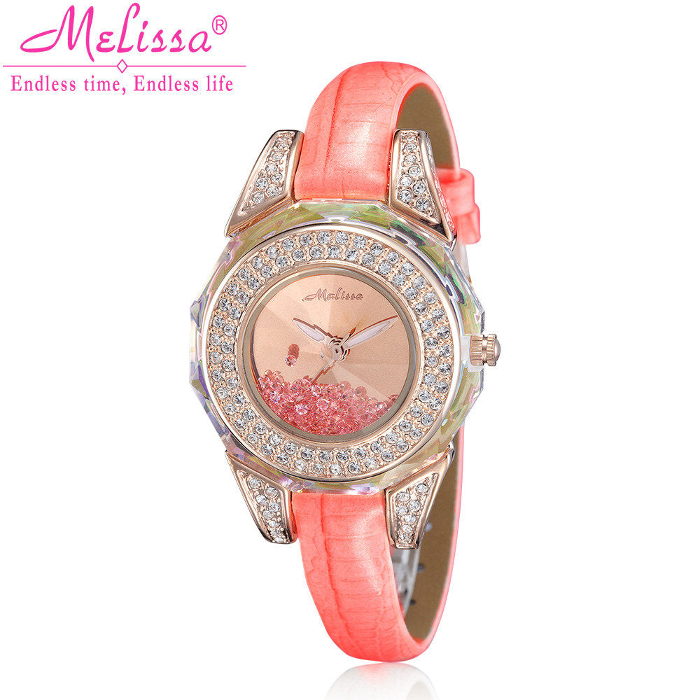 Elegant Women's Japan Rhinestone Quartz Watch Leather Bracelet