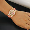 Elegant Women's Japan Rhinestone Quartz Watch Leather Bracelet - bulk offers
