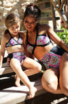 Mother and Daughter Match Floral High Waist Bikini Set.
