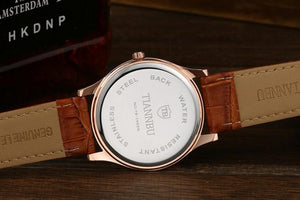 Ultrathin Leather Strap His and Hers wristwatch giftset.