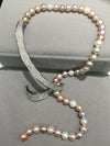 Romantic 8-9mm Fresh water multi color Pearl Necklace with sparkling detail. - bulk offers