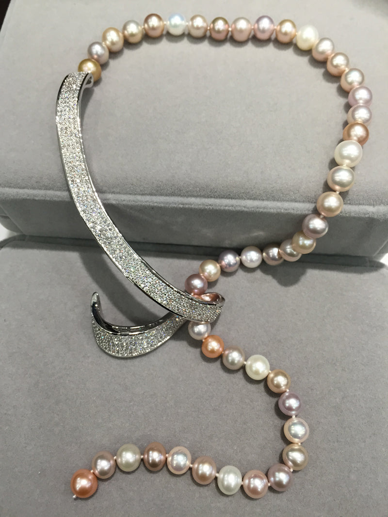 Romantic 8-9mm Fresh water multi color Pearl Necklace with sparkling detail.
