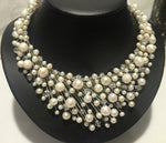 Handmade Fresh water pearls and crystal necklace.