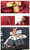 Patent Leather Crocodile Embossed Satchel with Padlock - bulk offers