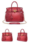 Patent Leather Crocodile Embossed Satchel with Padlock