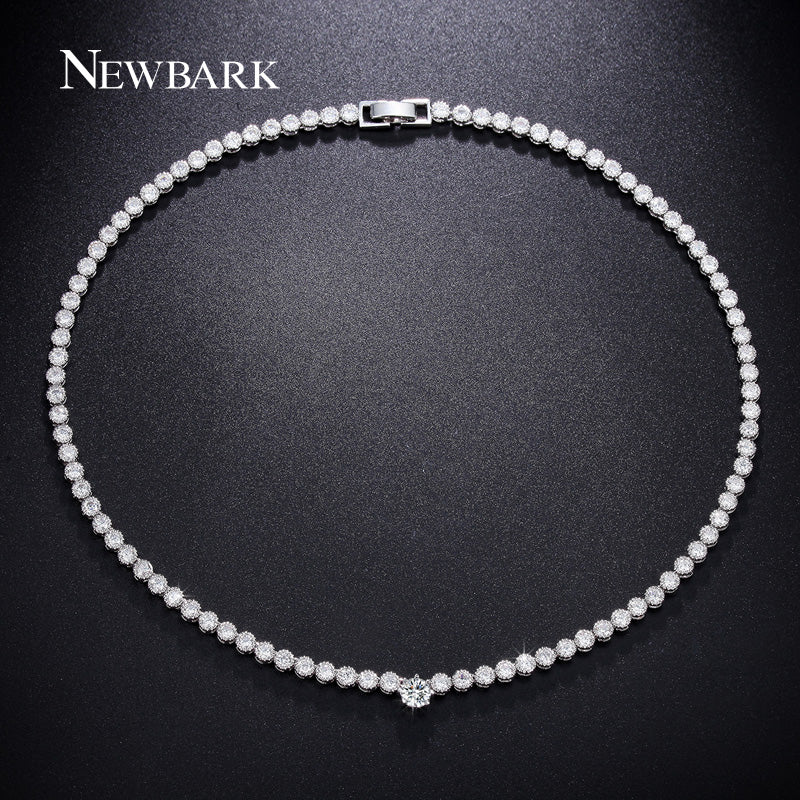 Elegant Choker Necklace Paved with Cubic Zirconia