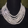 Natural fresh water pearl 6 layer necklace with 925 sterling silver and cubic zirconia accent. - bulk offers
