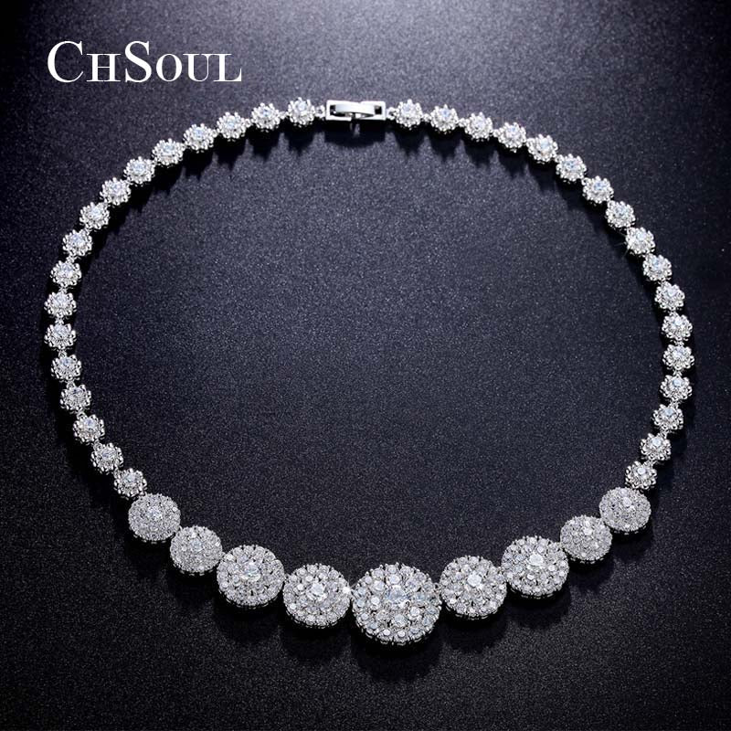 Cubic Zirconia Choker Necklace Round