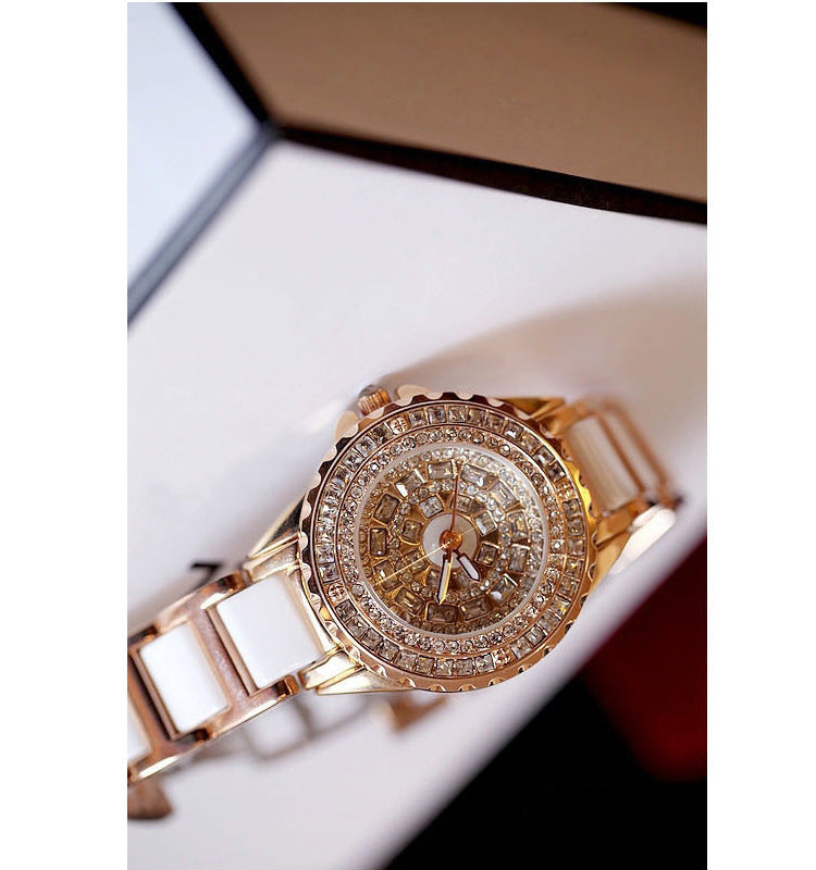 Rhinestones Gold Ladies watch gift