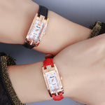 New! Ladies Fashion Rectangular Watch with Slim Leather Strap.