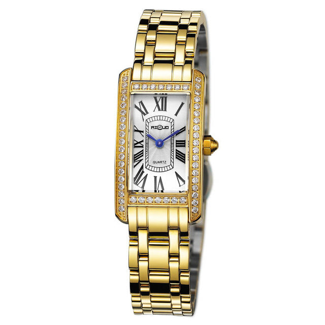 Stainless Steel Ladies Crystal Quartz Wristwatch
