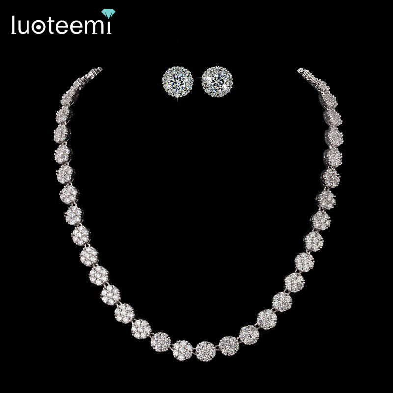 Elegant Cubic Zirconia Stone Necklace and Earring set.