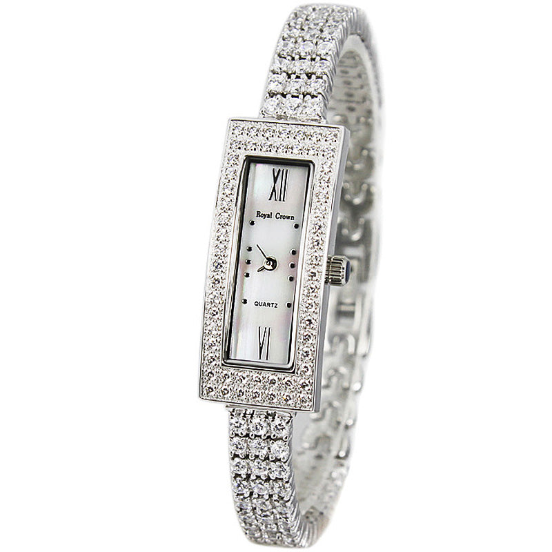 Women's Fine Mother of Pearl Watch Rhinestone detail.