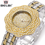 Elegant Ladies Rhinestone Flower Dial Quartz Wristwatch.
