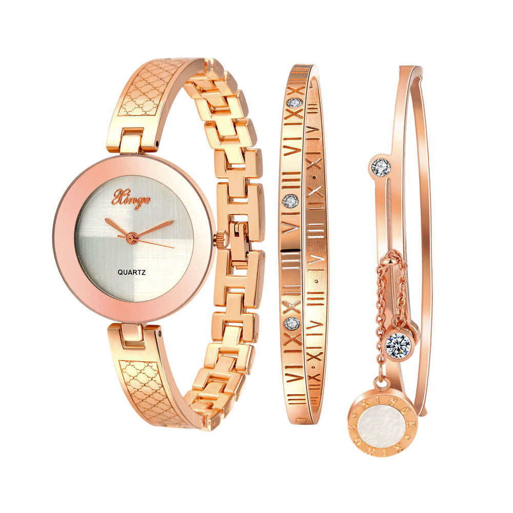 Gold Rhinestone Bangle Rose Gold Watch And Bracelets 3 in 1 Gift set