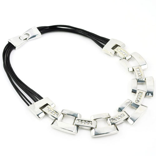 Geometric Stainless steel Necklace with Cubic Zirconia inlay