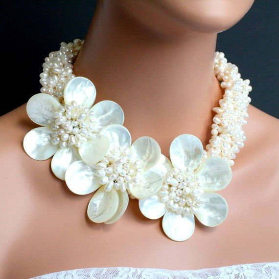 Torsade Freshwater Pearl Necklace and Mother of Pearl Flowers.