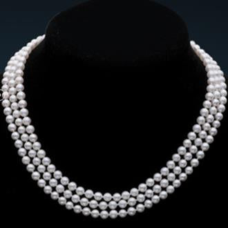 White Genuine Freshwater Pearls 5-6MM. 17-19 inches Necklace