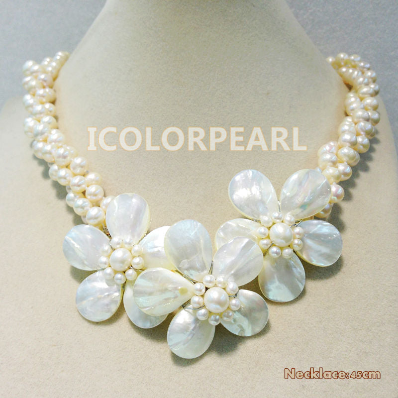 Beautiful White  6-7mm Real Freshwater Pearl And Shell Flower Choker/Necklace .