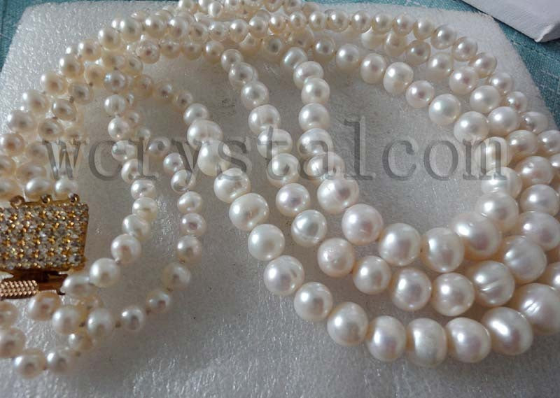 3 Row Graduated White Natural Cultured Pearls Necklace