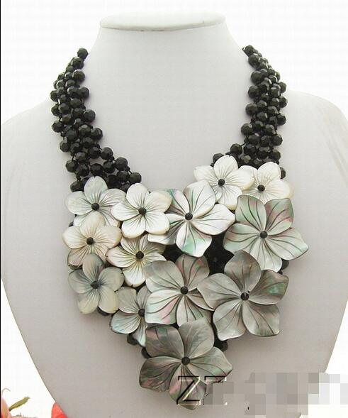 Black Crystal & Shell Flower Necklace-Onyx Toggle Clasp