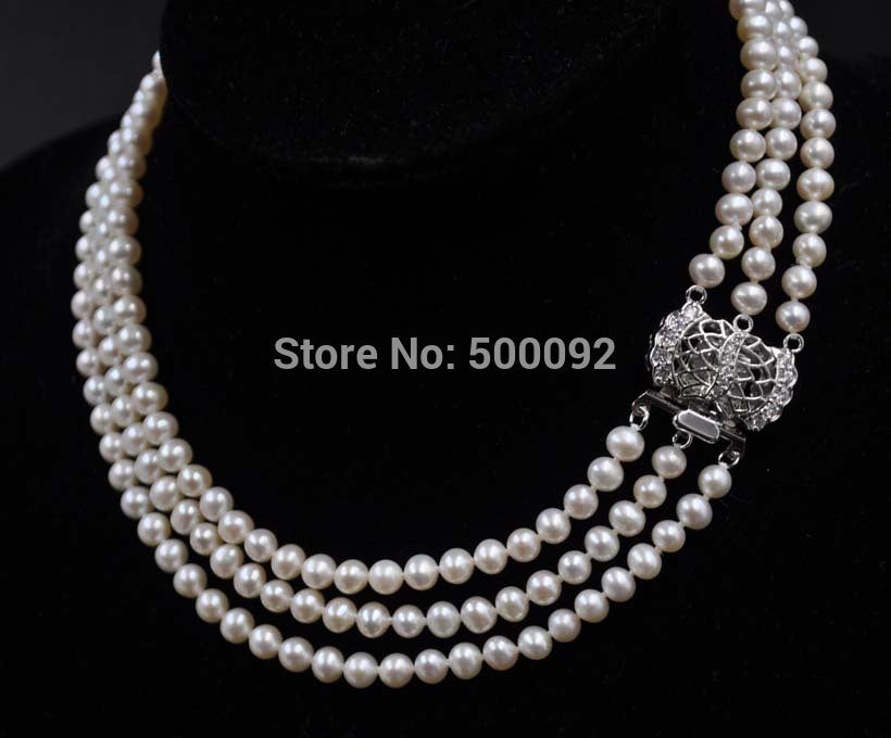 "Fine Choker 15""-17"" 3 strands 5-6mm white freshwater pearl necklace"