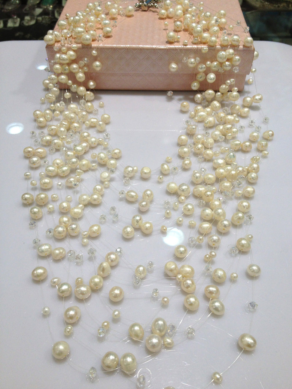 Floating Freshwater Pearl Multilayer Necklace.