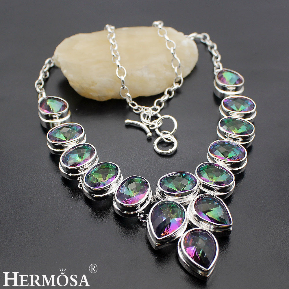 HUGE Rainbow Mystic Fire Stone 925 Sterling Silver Necklace 18 inches
