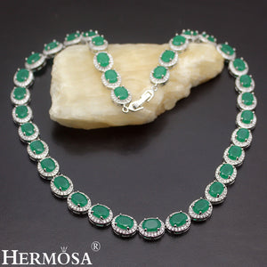 925 Sterling Silver Women's Choker Necklace Classic - Green