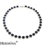 925 Sterling Silver Women's Choker Necklace Classic - Blue