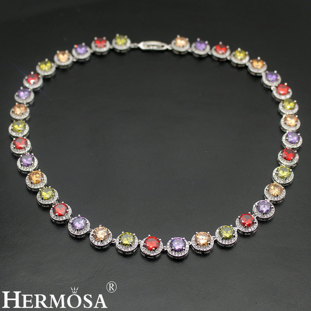 925 Sterling Silver Women's Choker Necklace Classic - Multicolor