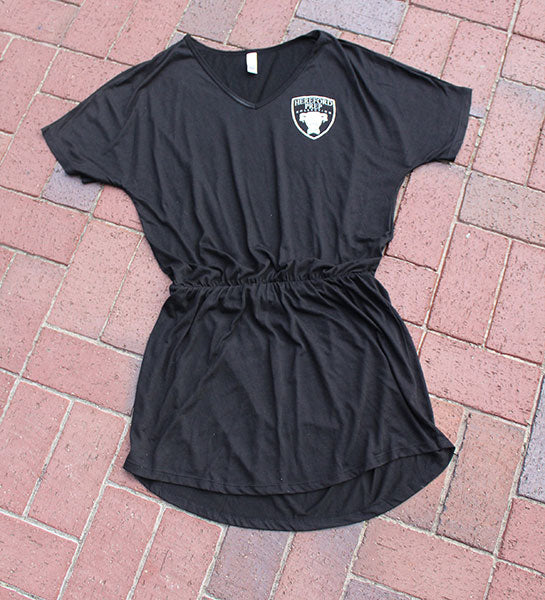 Black Flowy V-Neck Shirt Dress