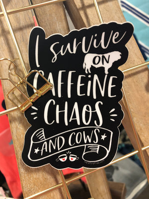 Caffeine Chaos and Cows Sticker