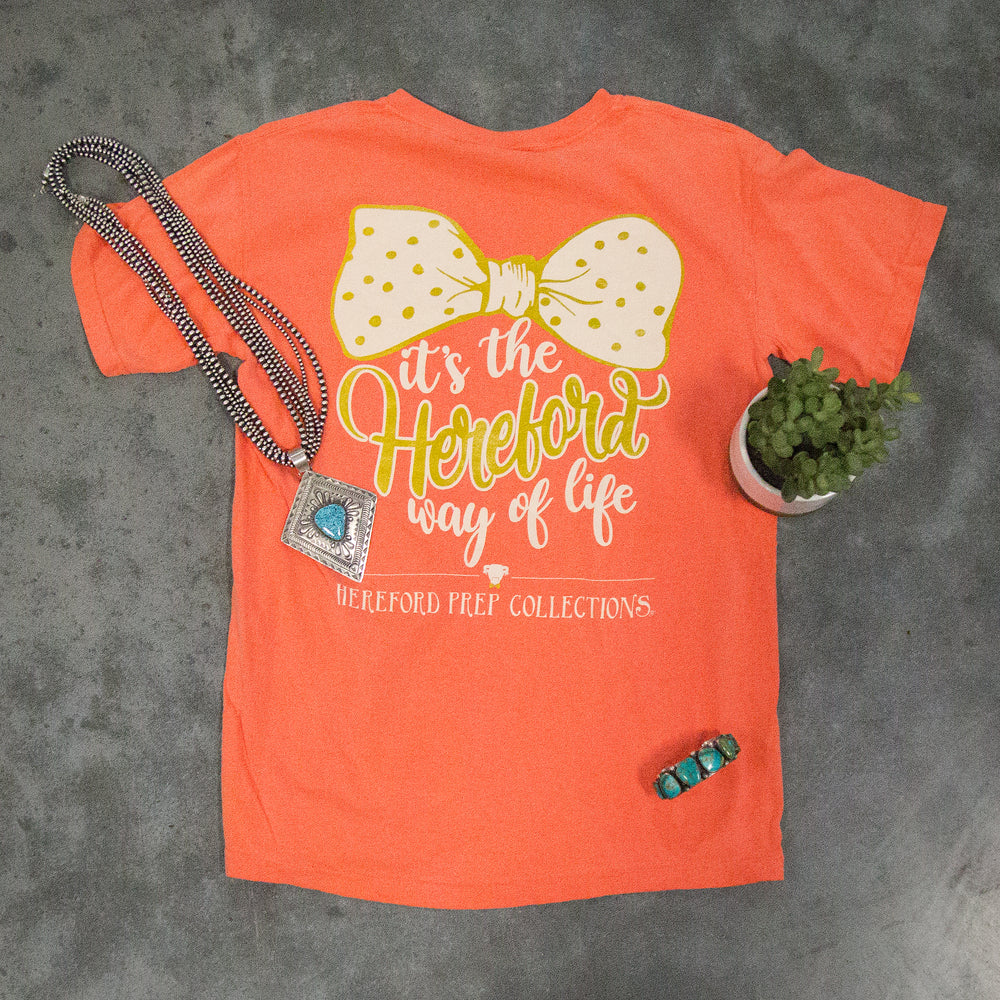 Hereford Way Of Life - Bright Coral Short Sleeve Shirt