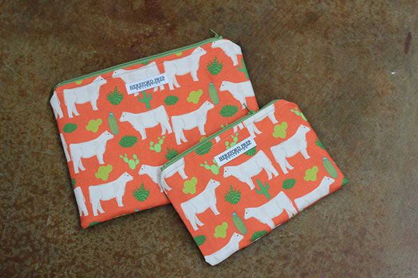 Orange Floral Fabric Bag With Cream Steer - Small, No Bottom